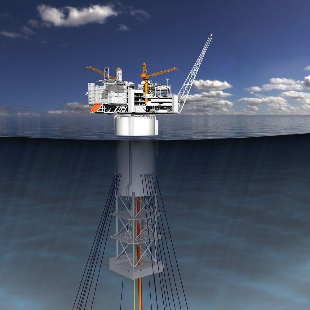 Stabil: Spar-konstruksjonen til Technip er designet for å gi så små bevegelser som mulig. Konstruksjonen er 198 meter høy.