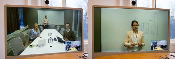 Speaker Track: De to automatiske kameraene i møterommet følger deltakerne. Når ingen snakker får motparten et oversiktsbilde. Når en deltaker presenterer noe på tavla innerst i rommet zoomer et av kameraene inn på vedkommende og presenterer et nærbilde.