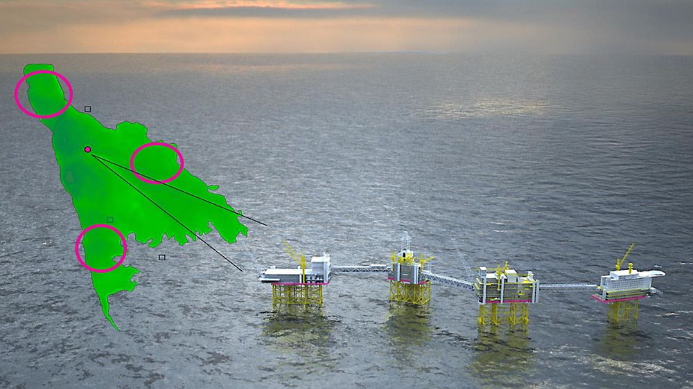 An illustration of future phases of the Johan Sverdrup field. The placement and types of installations are not final, and are illustrated with purple circles.