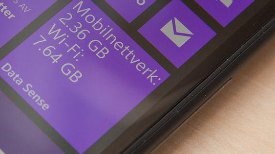 Windows Phone 8.1 får angivelig en funksjon som gir deg oversikt over batteriforbruket på telefonen. Her vises Data Sense, som gir deg oversikt over databruken.