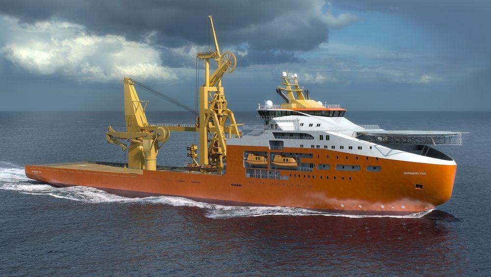 Kjempe: Solstad Offshores planlagte konstruksjons- og rørleggingsfartøy blir den største i rederiets flåte. Skipet blir 180 meter langt og 33 meter bredt. En rørkarusell underdekk kan ta 4000 tonn rør eller kabler. Skipet får også en 600 tonns offshorekran med bølgekompensering.