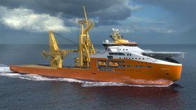 Kjempe: Solstad Offshores planlagte konstruksjons og rørleggingsfartøy blir den største i rederiets flåte. Skipet blir 180 meter langt og 33 meter bredt. En rørkarusell underdekk kan ta 4000 tonn rør eller kabler. Skipet får også en  600 tonns offshorekran med bølgekompensering.