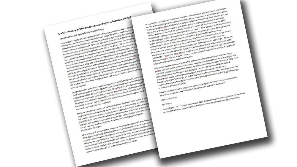 Brevet som oljevarsler Rolf Wiborg har sendt til energi- og miljøkomitéen på Stortinget.