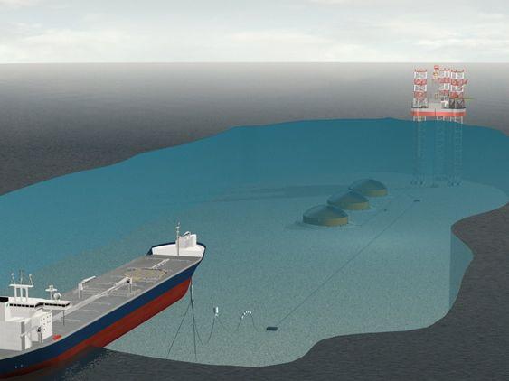Lasting: En shuttletanker ankommer feltet og fisker opp lastebøyen som er knyttet til subsea-oljelageret.