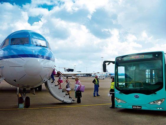 Det er bestilt til sammen 35 BYD-busser til Schiphol lufthavn i Amsterdam.