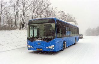 BYD ebus er satt i en rekke testprosjekter rundt om i verden. Dette bildet er fra Romania.