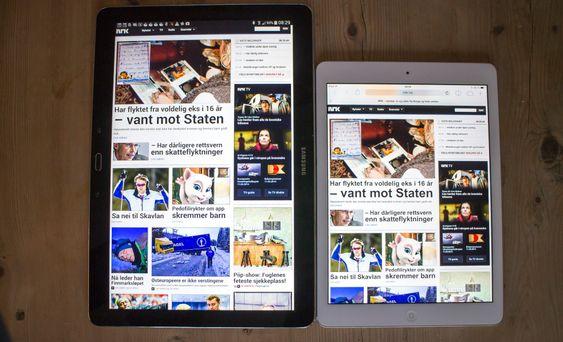 Svært: I forhold til en iPad Air er Note 12.2 en ganske røsslig sak, men du verden slik oversikt det gir på nettsidene.