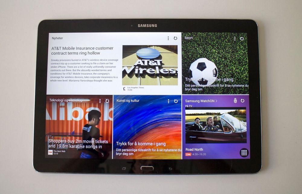 Magasin: Grensesnittet som Samsung har gitt navet Magazine UX skal gjøre Note 12.2 til lesernes valg. Vi må innrømme at det er en fryd å lese på en så stor skjerm.