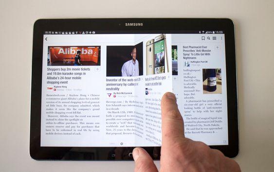 Bla: Samsung bruker Flipboard-appen til å bla seg gjennom nettsaker