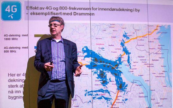 Se den dekningen: I går ble 4G-stasjonene i Drammen og omegn utstyrt med 800 MHz sier Telenor Norges dekningsdirektør, Bjørn Amundsen. De blå feltene viser den nye dekningen i forhold til den 4G-dekningen som allerede var der på 1,8 og 2,6 GHz.