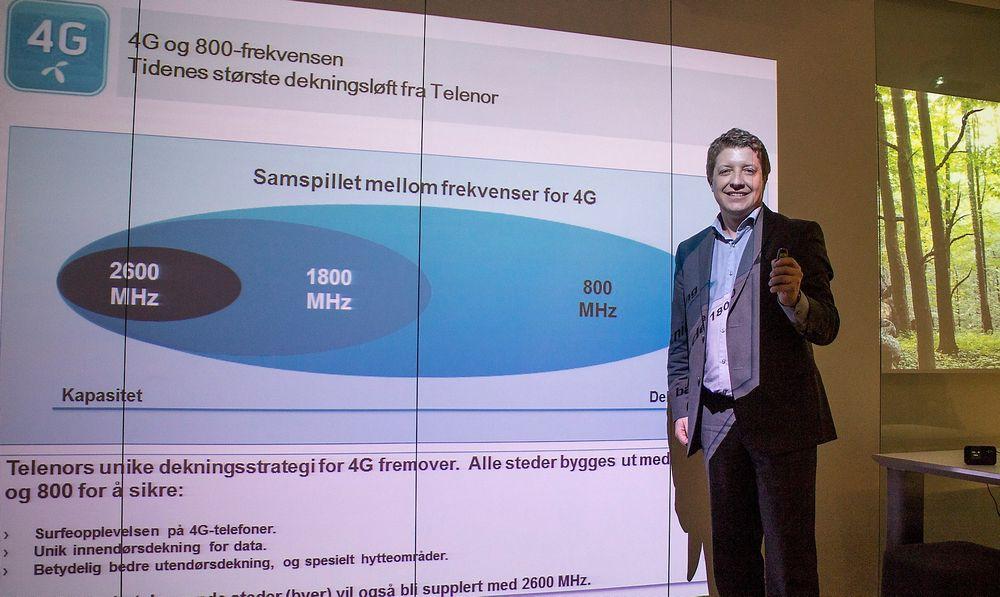 Så mye lenger: 800 MHz har en mye lenger rekkevidde enn frekvensene på 1,8 og 2,6 GHz, forklarer teknologidirektør Frode Støldal i Telenor Norge. I tillegg trenger de også mye bedre inn i bygninger. Det har vært et problem med de høye frekvensene.
