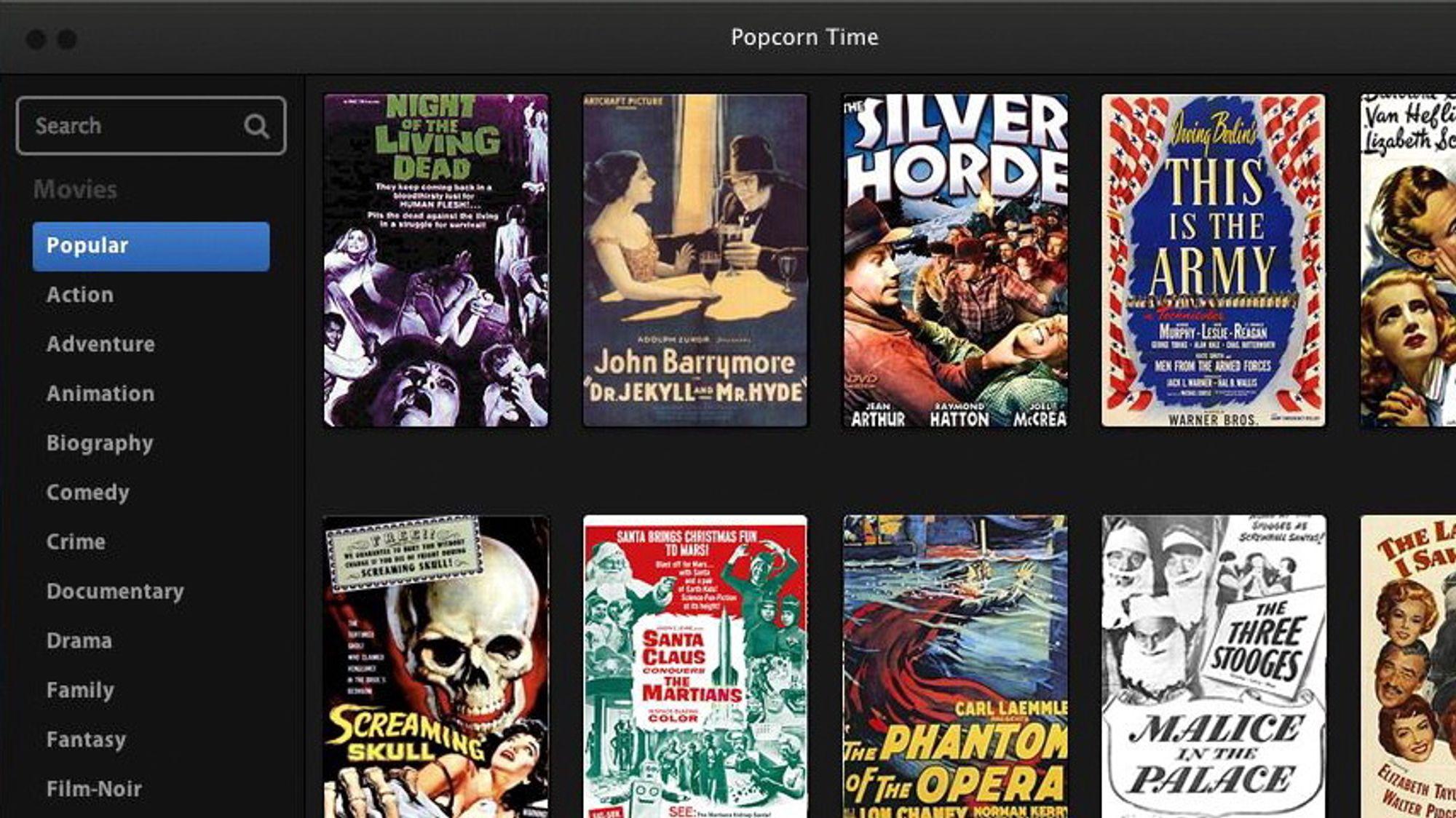 Den nye strømmetjenesten «Popcorn Time» gjør det mulig å strømme torrentfiler og har et enkelt brukergrensesnitt.
