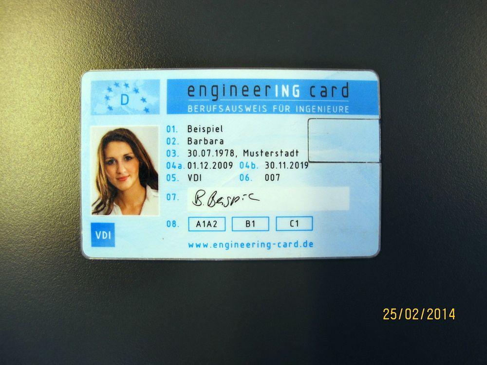 Engineering card: Eksempel på ingeniørsertifikatet utstedt av Feani – som skal kvalifisere kortholderen til jobb i hele Europa.