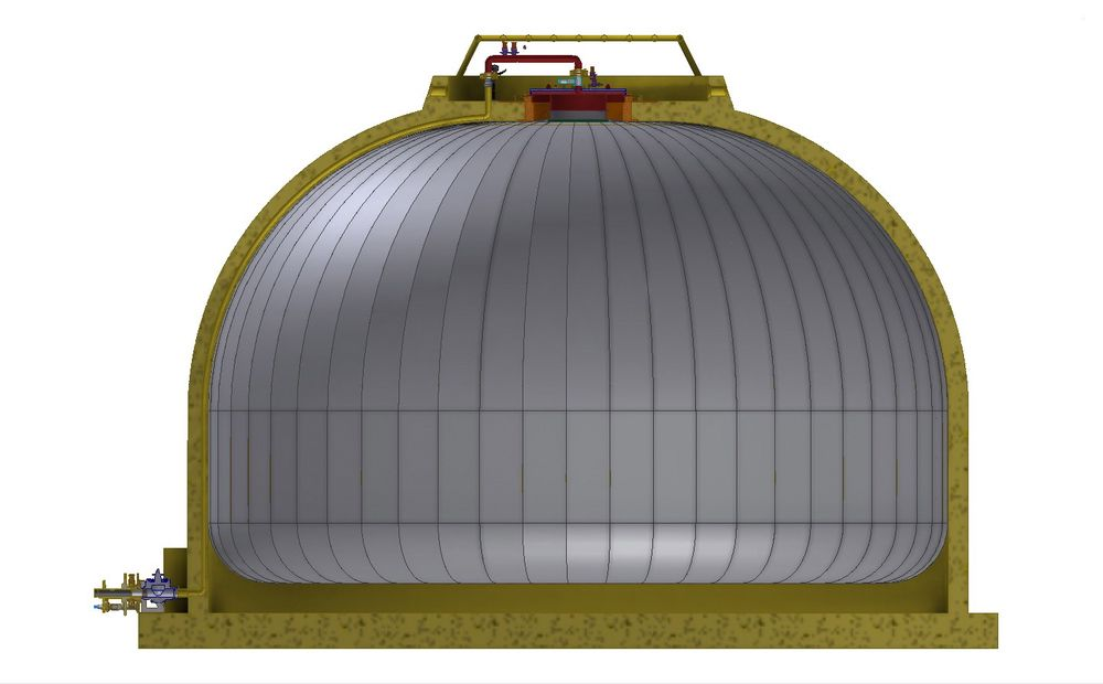 25.000 cubic meters are stored inside a plastic sheet. The outer shell can be made of steel or concrete.