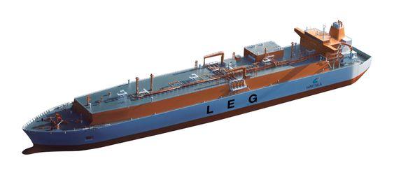 Size matters: Indiske Reliance Group har bestilt seks store skip for frakt av etangass fra USA til India.Skipe kan ta 87.000 kubikkmeter etangass.