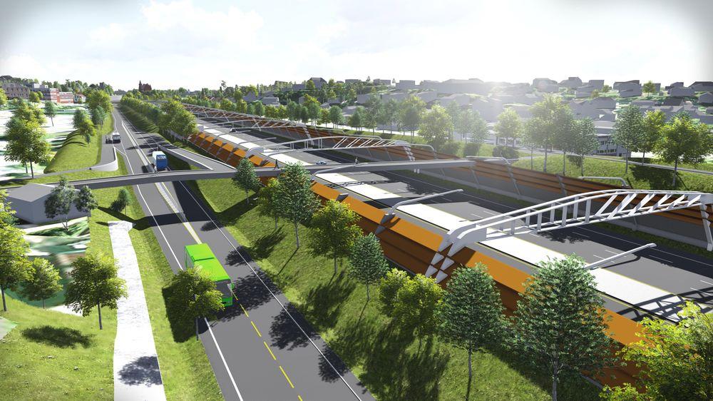 I forslag til statsbudsjett for 2015 ønsker regjeringen å bevilge 260 millioner kroner til grunnerverv langs ny E18 Vestkorridoren. Veien er per i dag ikke vedtatt.