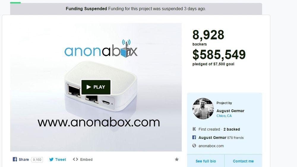 Kickstarter-prosjektet Anonabox var en stor crowdfunding-suksess, men ble stengt ned før de fikk cashet inn.