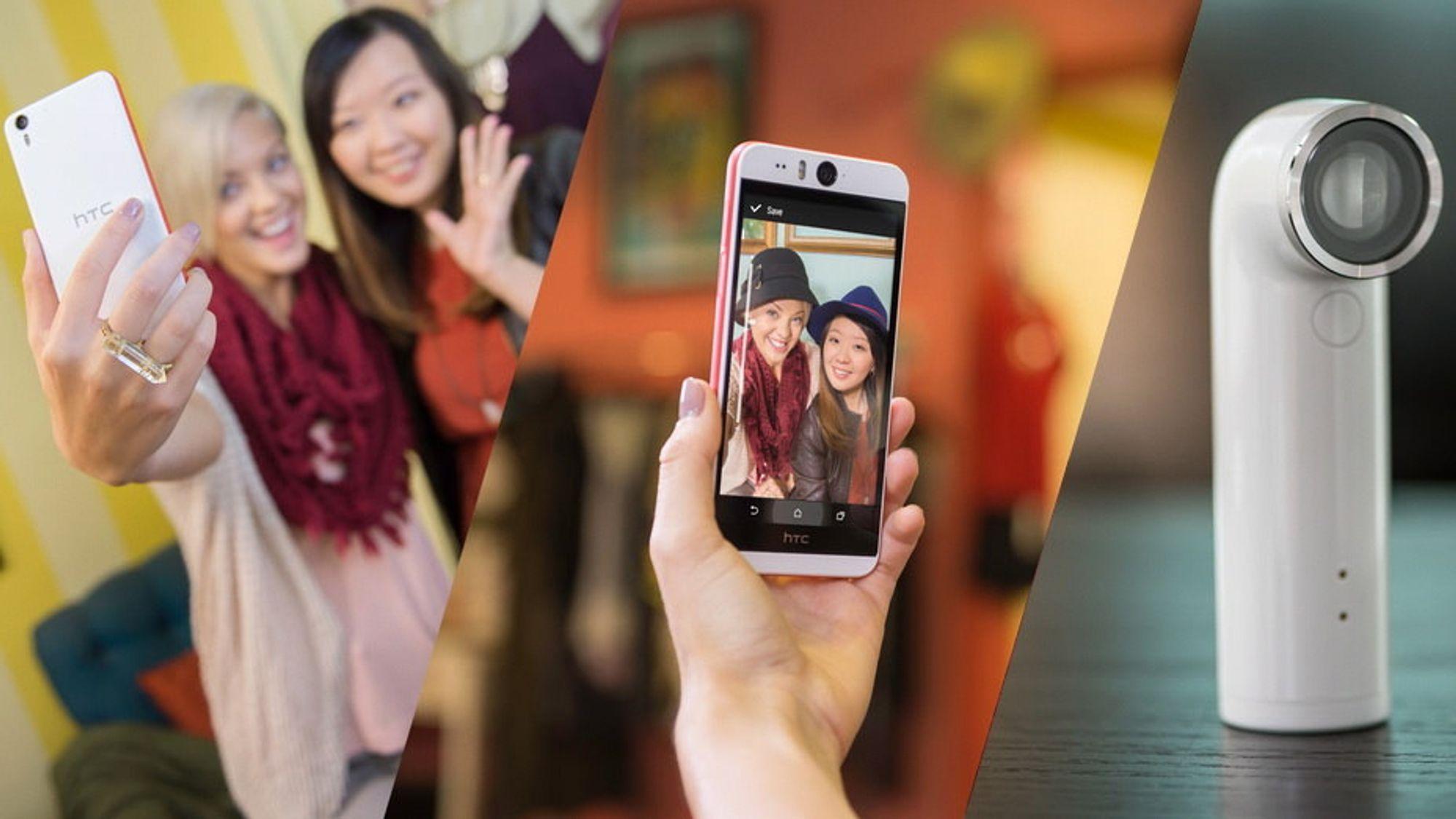 HTC har lansert sjølistelefonen Desire Eye, og actionkameraet Re.