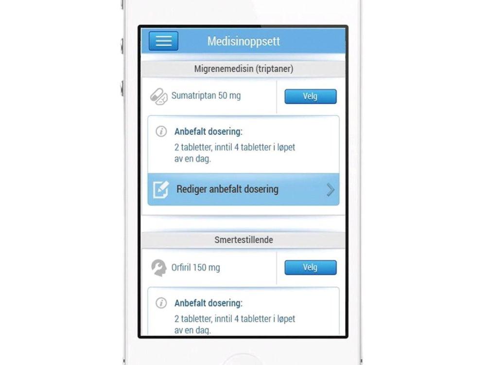 Med hodepinedagbok-appen kan man registrere mønsteret på hodepinen, og lage eget medisinoppsett.