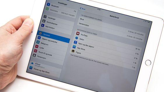 Batteritiden er god. Siden brettet har iOS 8.1 kan du enkelt sjekke hva som har brukt strøm.