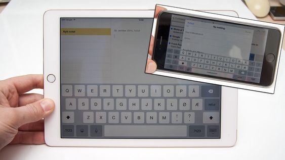 Vi undrer litt over hvorfor noen av nyhetene på iPhone 6 ikke har fulgt med over på iPad, som snarveiene på tastaturet på iPhone 6 Plus.