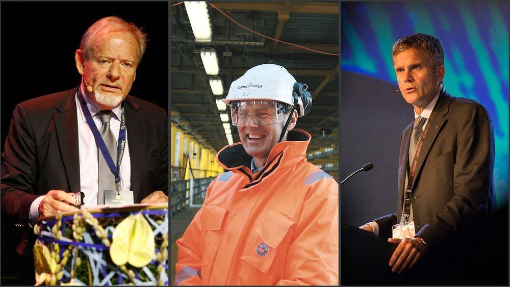 Disse lederne av norske operatørselskaper var på lønnstoppen i 2013. Torstein Sanness, norgessjef i Lundin (f.v.), Steinar Våge, toppsjef i ConocoPhillips Norge og Statoil-sjef Helge Lund.