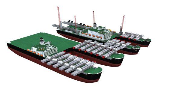 Allseas planlegger et fartøy som er enda større enn Pieter Schelte. Illustrasjonen viser det nye skipet foran Pieter Schelte.