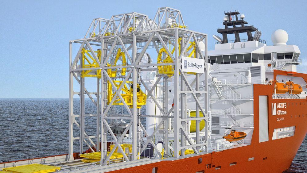Brønnjobb: Tårnet som gjør Aker Wayfarer til et brønnintervensjonsskip skal leveres av Rolls-Royce, eks Odim.