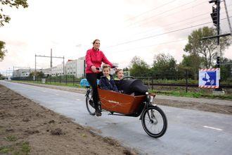 Et lignende prosjekt på en sykkelvei i Nederland.