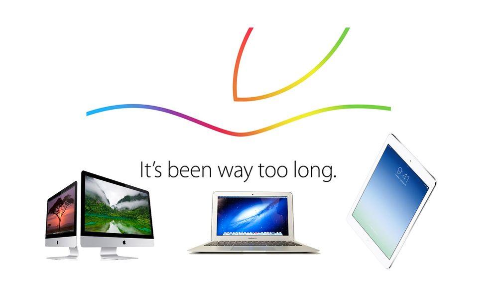 Apple har invitert til en lansering torsdag 16. oktober, og designet på invitasjonen er likt designet på logoen for Mac-ens 30-års-jubileum. Det kan borge for nyheter på Mac-fronten, men det ryktes også en oppdatert iPad.