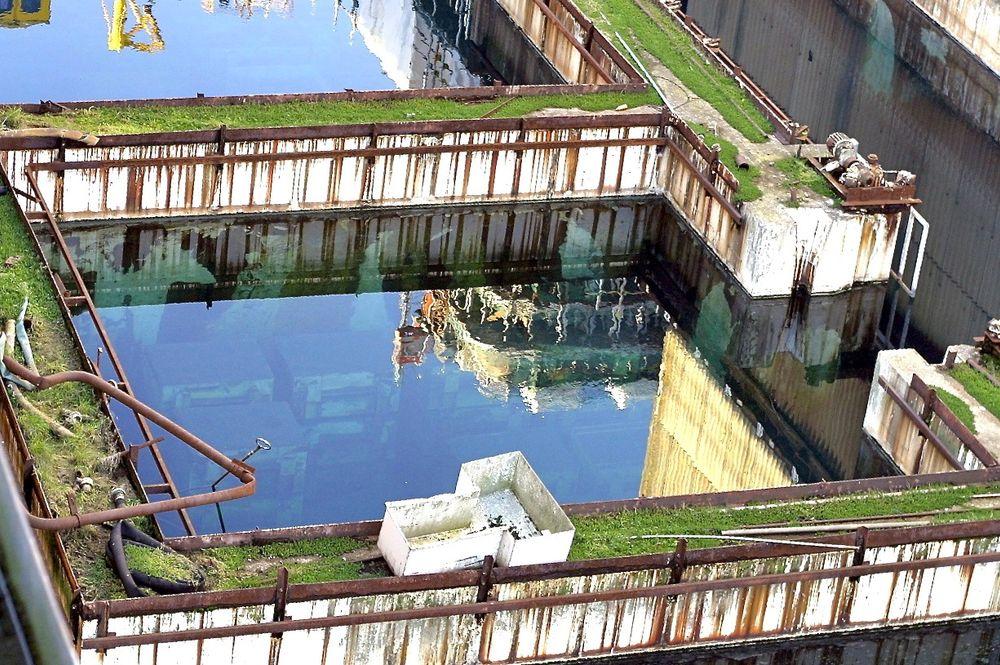 Et mosegrodd basseng ved Sellafield-kraftverket.
