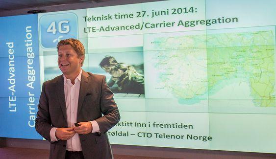 Lover neste teknologigenerasjon: Teknologidirektør i Telenor Norge, Frode Støldal, foteller at selskapet er i ferd med å forbedrede neste generasjon 4G (LTE-A) som vil kunen gi kundene en dobling av dagens hastighet.
