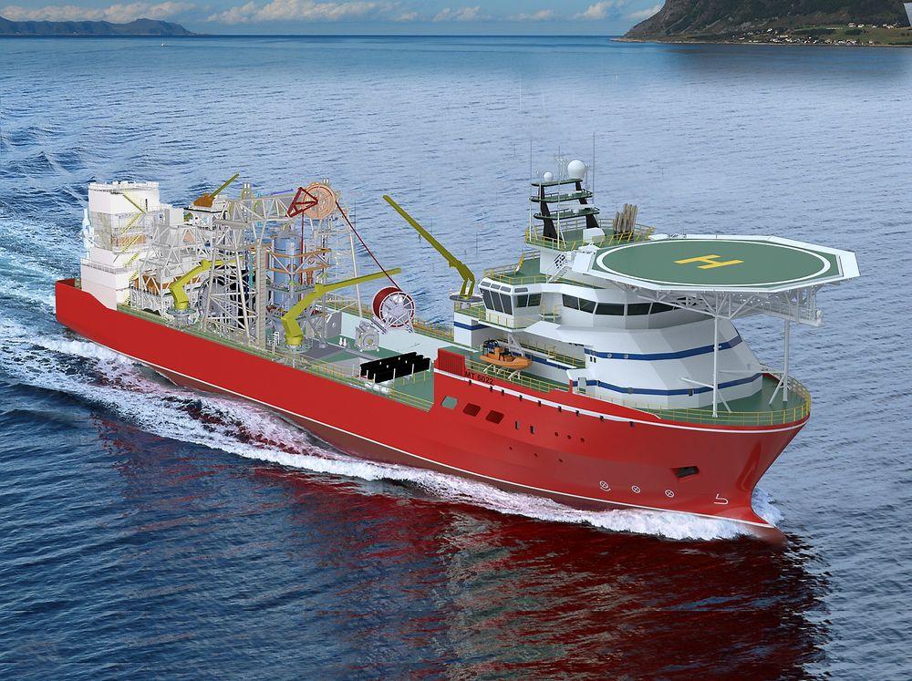 Unik: Marin Teknikk MT 6022 i diamantversjon. Fartøyet blir 113 meter langt, 22 meter bredt og kan ligge på DP i tre år mens DeBeers utvinner diamanter på 150 meters dyp.
