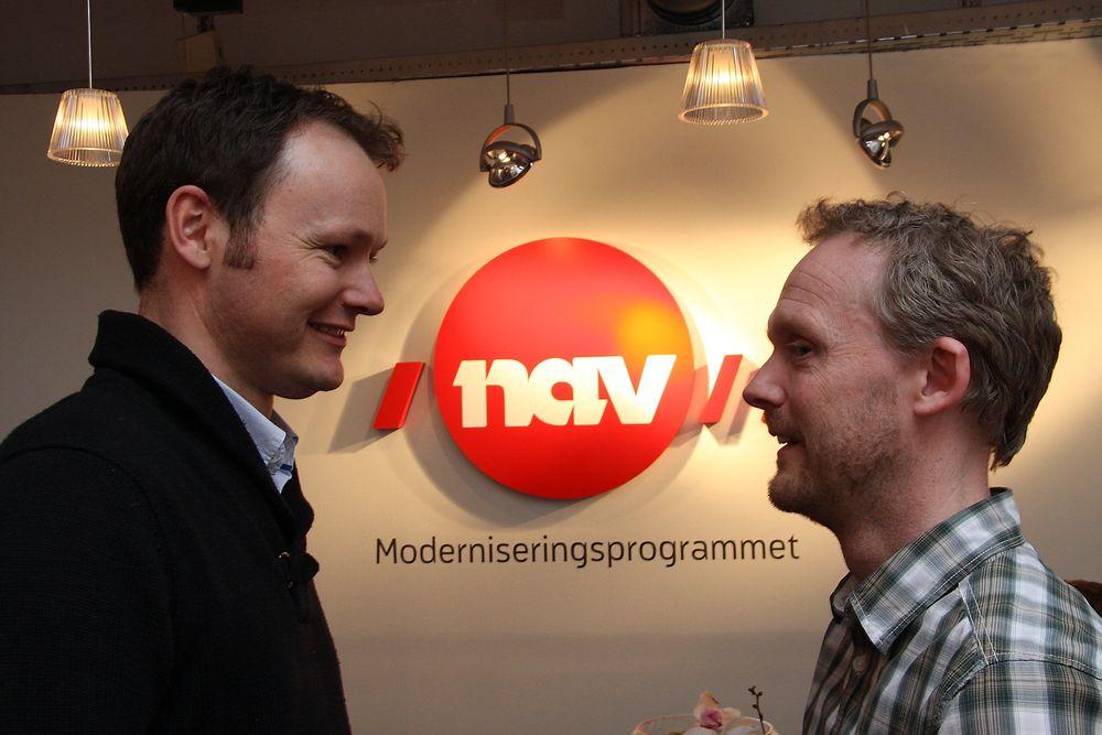 LEDERNE: Steinar Årdal (t.v.) og Petter Hafskjold byttet beite fra privat til offentlig sektor for å kunne ha mer innflytelse på milliardprosjektet i Nav.