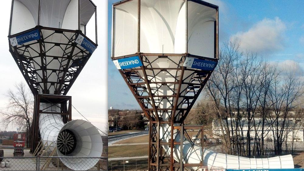 """Invelox, forkortelse for """"increasing the velocity of wind"""", er en tubebasert turbin. Den minner litt om en gigantisk trakt plassert på toppen av et periskop. Tubesystemet er designet for å fange vind fra alle retninger, øke dens hastighet, for så å lede den gjennom en liten vindturbin på bakkenivå."""