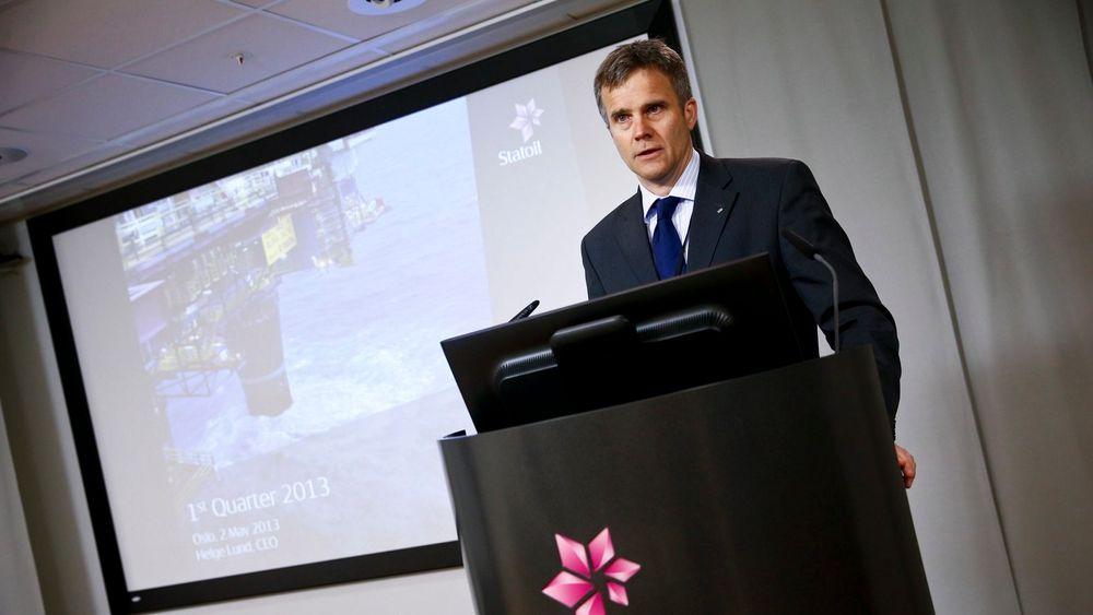Statoil-sjef Helge Lund presenterte resultatene på en pressekonferanse torsdag.