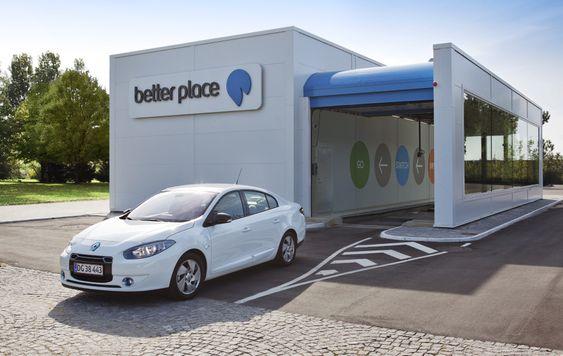 Det første batteribyttestasjonen ble bygget her i Gladsaxe, en kommune nordvest for København.