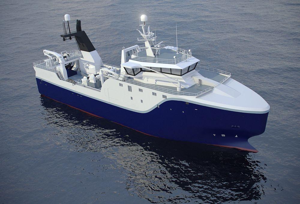 NOMINERT: Aker Seafoods' nye tråler fra Vard Brattvaag er 70 meter lang og 16 meter bred. Fartøyet er bygd som frysetråler, men skal også levere fersk fisk og produsere fiskemel.