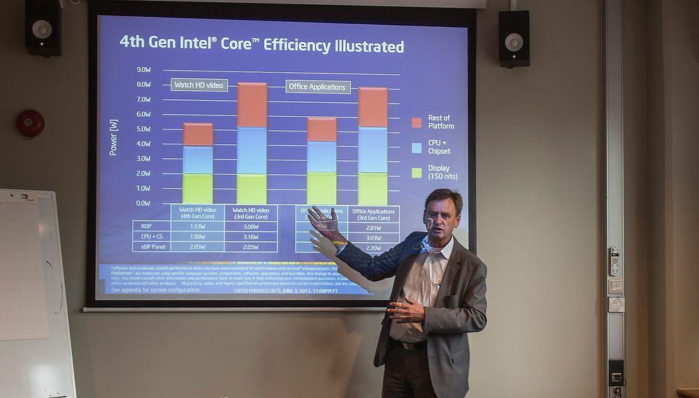Mye mer for pengene: Teknologispesialist i Intel, Jan Östling tror den nye generasjonen prosessorer kommer til å få fart på PC-salget fordi produktene vil bli så mye bedre. Ikke minst fordi batterilevetiden vil bli kraftig forlenget.