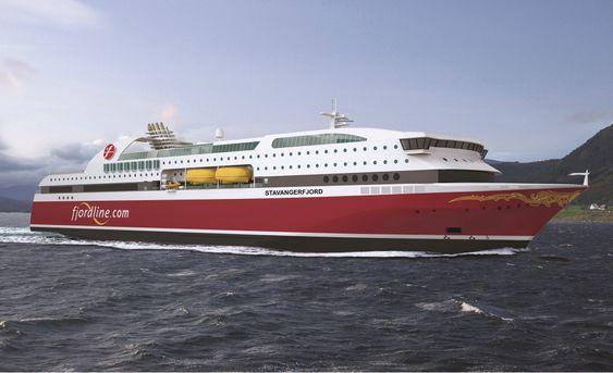 NOMINERT: Fjord Lines nye gassdrevne passasjerferge fra Bergen Group Fosen er nominert til årets skip. Det 135 meter lange skipet rommer omtrent 300 lugarer og har plass til drøye 1500 passasjerer og 600 personbiler. Her MS Stavangerfjord, som skal være ferdig i juli.