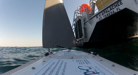 Her blir bøyen sjøsatt i Mexicogulfen fra forkningsskipet R/V Apalachee.