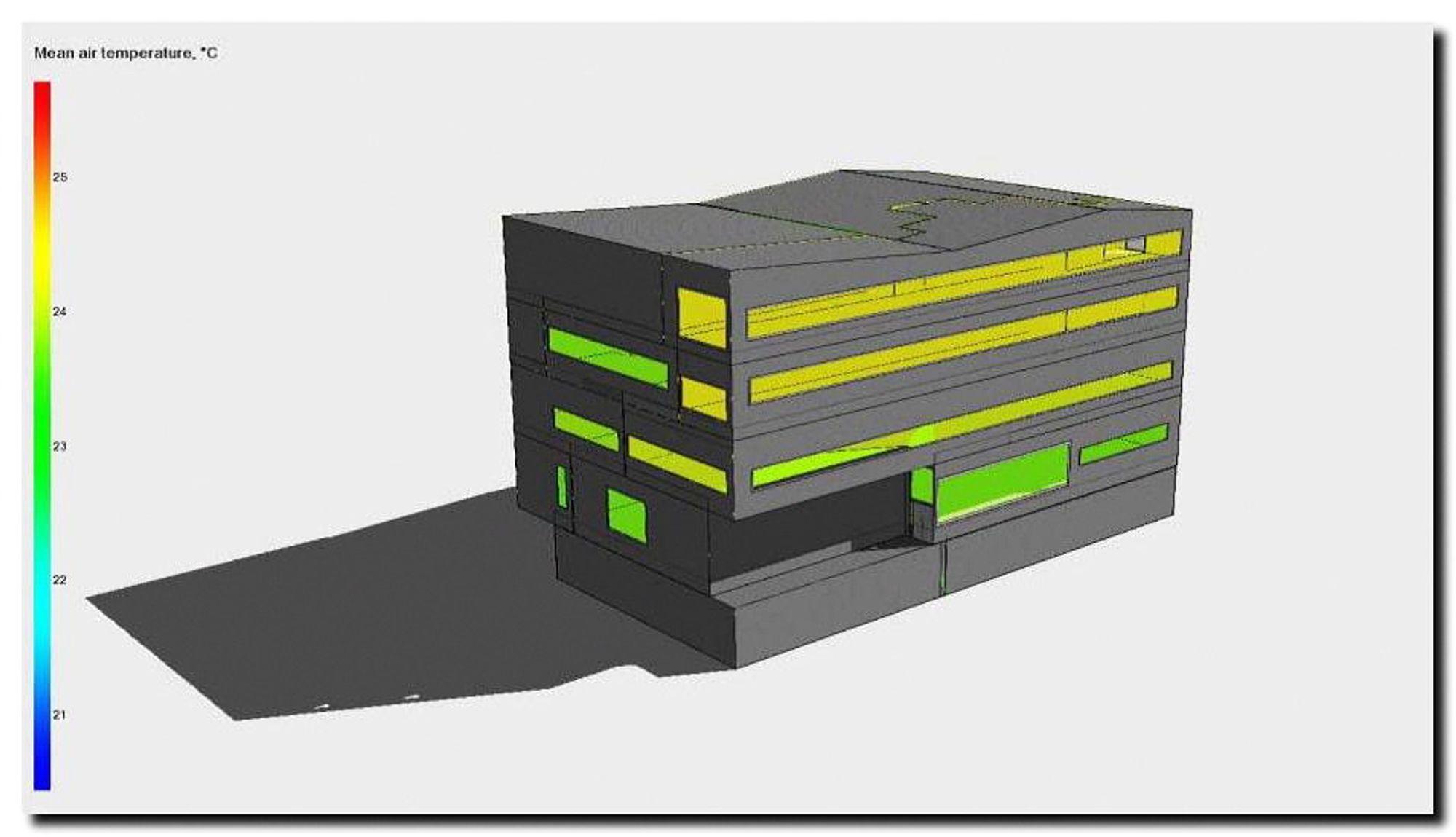 """LØSNINGER: Prosjektet med den noe vanskelige betegnelsen """"Virtuelt nullenergibygg"""" skal munne ut i verktøy som gir de beste energiløsningene for et bygg i hele livsløpet. Denne illustrasjonen viser Molde tinghus."""