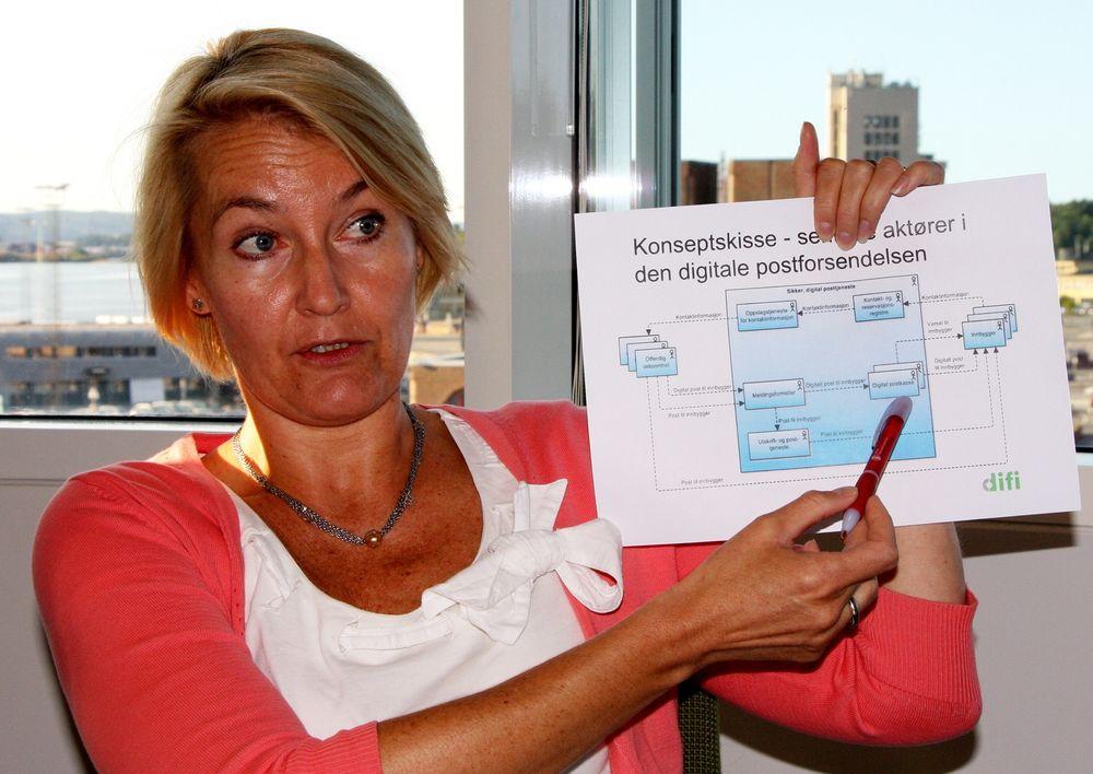 OPPSTART: Programdirektør Birgitte J. Egset ønsker seg oppstart av digital postkasse neste sommer, men våger ikke love mer enn at ting blir klart i løpet av 2014.