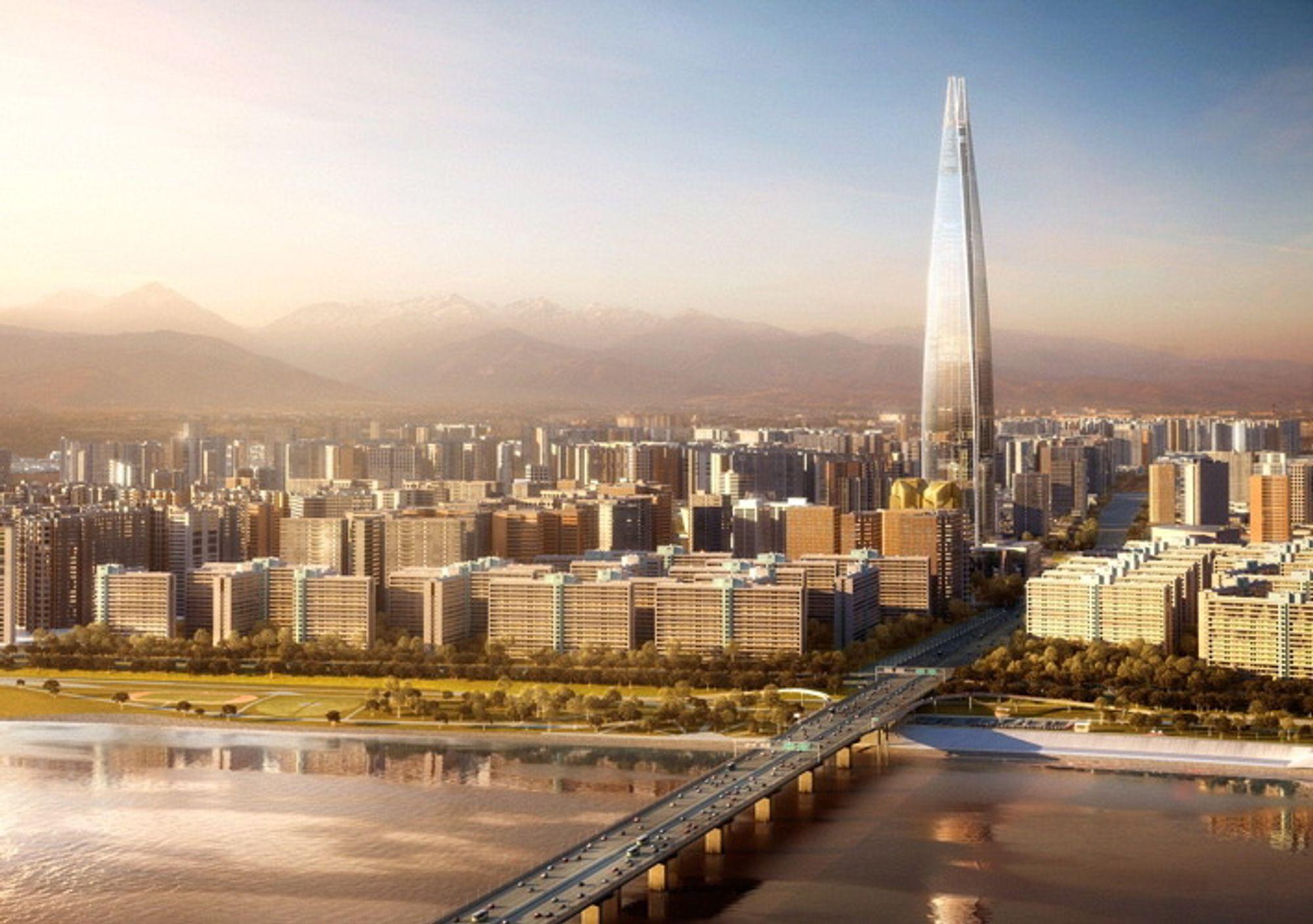 8: LOTTE WORLD TOWER, SEOUL, SØR-KOREA: 556 meter høyt, 123 etasjer, skal stå ferdig i 2014. Blir både boliger, kontorer og et hotell. Kalles også Lotte Supertower.