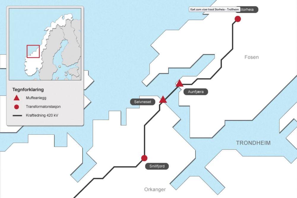 Statnett har fått konsesjon av OED til å bygge sentralnettsledning fra Overhalla via Fosen til Trollheim i Surnadal, for å ta imot inntil 1300 MW ny vindkraft fra Fosen og i Snillfjord-området.