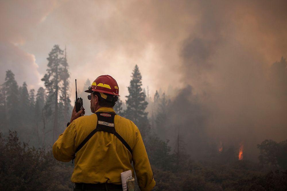 En stor skogbrann herjer i nasjonalparken Yosemite i California.