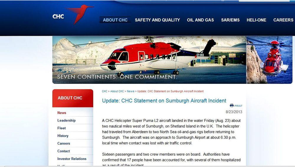 CHC meldte om den tragiske ulykken på sin hjemmeside.