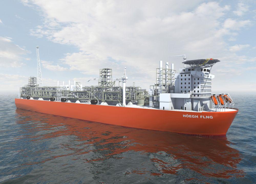 FLYTENDE GIGANT: Slik ser Höegh for seg sitt nye FLNG-skip som skal produsere to millioner tonn gass i året.