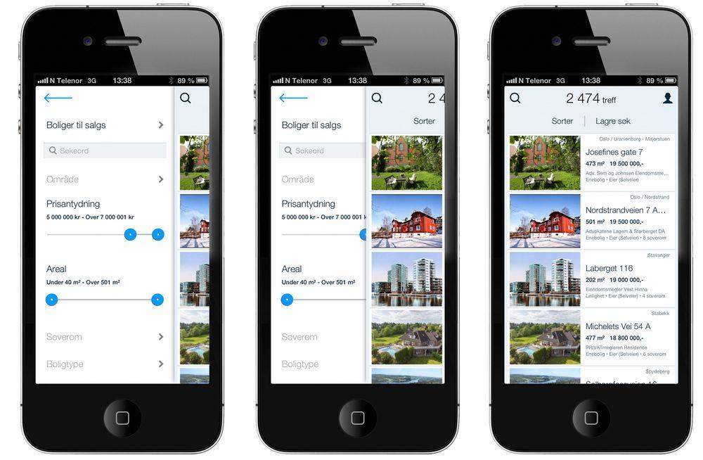 Sveip: Det er lett å sveipe frem og tilbake mellom kriterier og resultater på Finn.no's nye mobilapp.