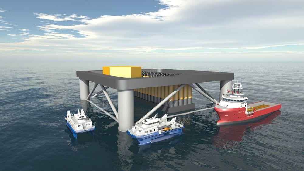 Bølgekraftkonseptet til Havkraft har en virkningsgrad på opptil 35 prosent. Her er et tenkt offshore bølgekraftverk basert på teknologien.